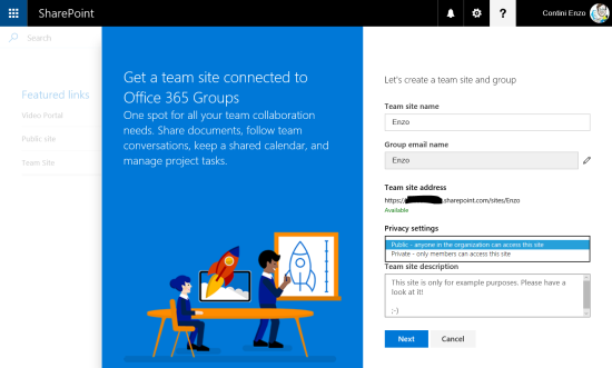 Creation of a new SharePoint site