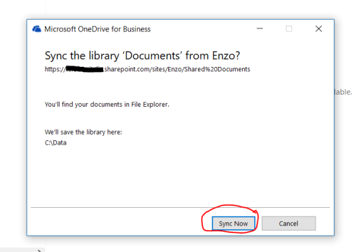 Agree to the alert popup of OneDrive for Business