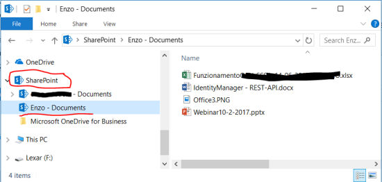 A directory with the NameOfSite - Documents is created in the SharePoint folder