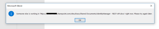 No simultaneous local editing of a local document is allowed: use instead the online version of Office