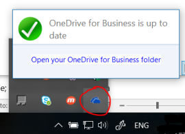 Management of OneDrive for Business from taskbar icon (left click)