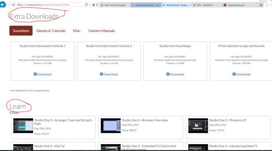 Extra downloads and tutorials