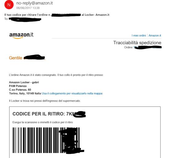 Email con il codice per il ritiro del pacco dal locker