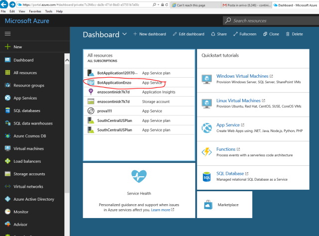 In the Azure Dashboard you can see the new Bot