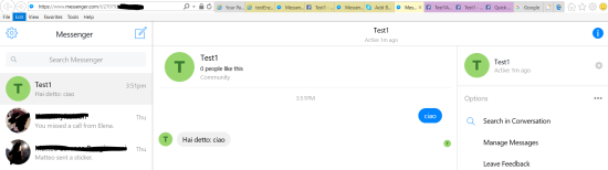 """Writing to Test1 from the Messenger site: the bot testEnzoA automatically answers """"""""Hai detto: same string"""""""
