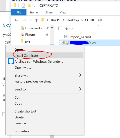 Alternative way:  right click on the certificate file and choose Install Certificate