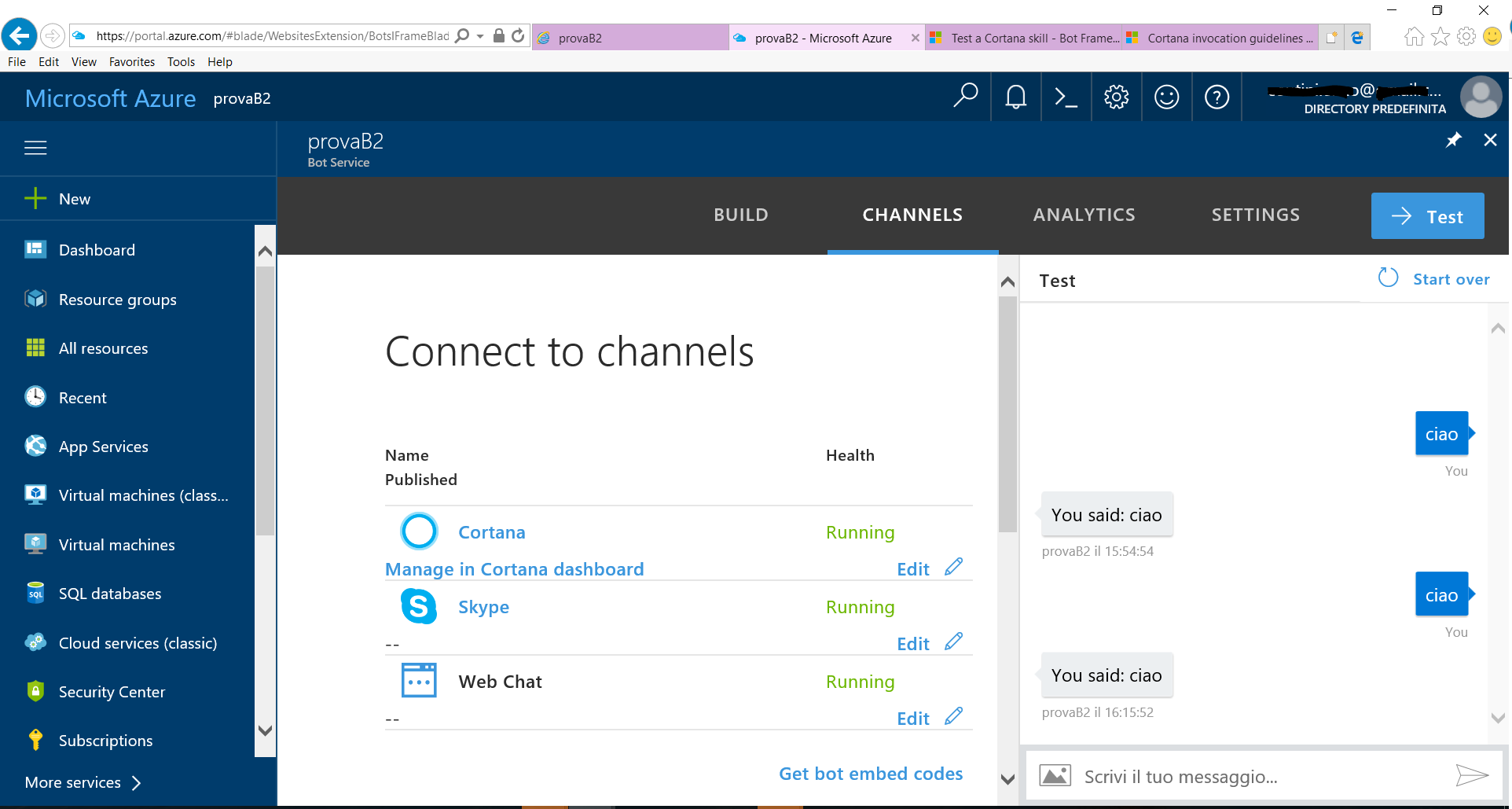 How to connect a Microsoft Framework Bot to a Microsoft