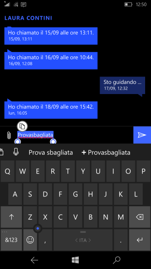 Add a wrong word using the suggestion bar available in the Messaging app (+Provasbagliata)