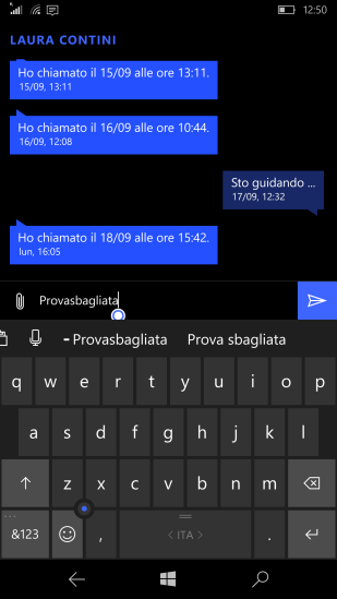 From Messaging is available, in the suggestion bar, the option to delete a custom word from the dictionary (- Parolasbagliasta)