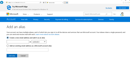 Add an alias to your Microsoft account
