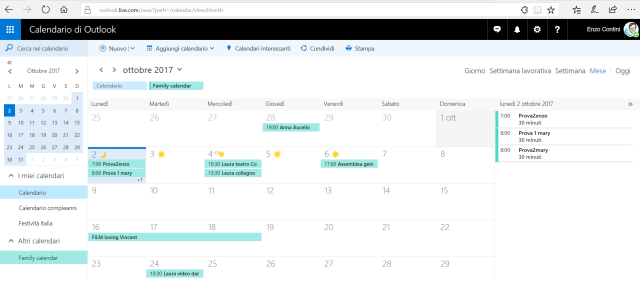 Family Calendar on Outlook.com site