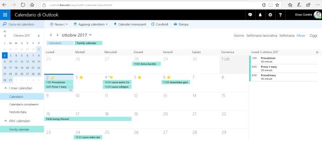 Family Calendar on Outlook.com site