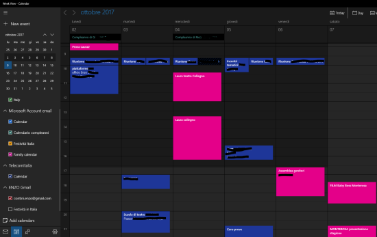 Calendar (Mail) UWP app - full screen on a PC/Tablet