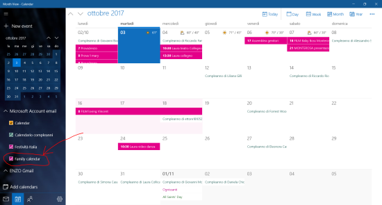 Select Family Calendar, available in your Outlook/live mail account, among the other Calendar you want to consider