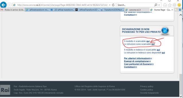 Sezione di accesso alla Dichiarazione (nella homepage del VECCHIO portale)