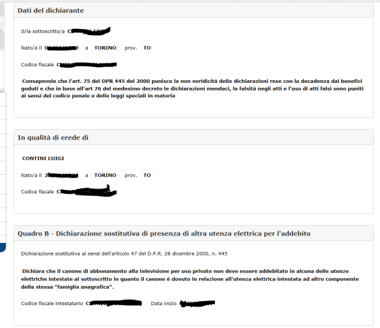 Wizard per l'inoltro dei dati della dichiarazione (passo 5)
