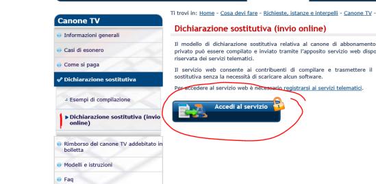 Accesso alla sezione di inoltro della dichiarazione sostitutiva (invio online)