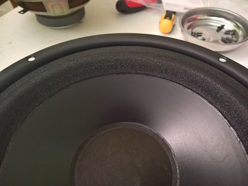 The new foam properly attached to the woofer