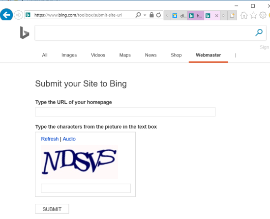 Submit an URL to Bing search engine