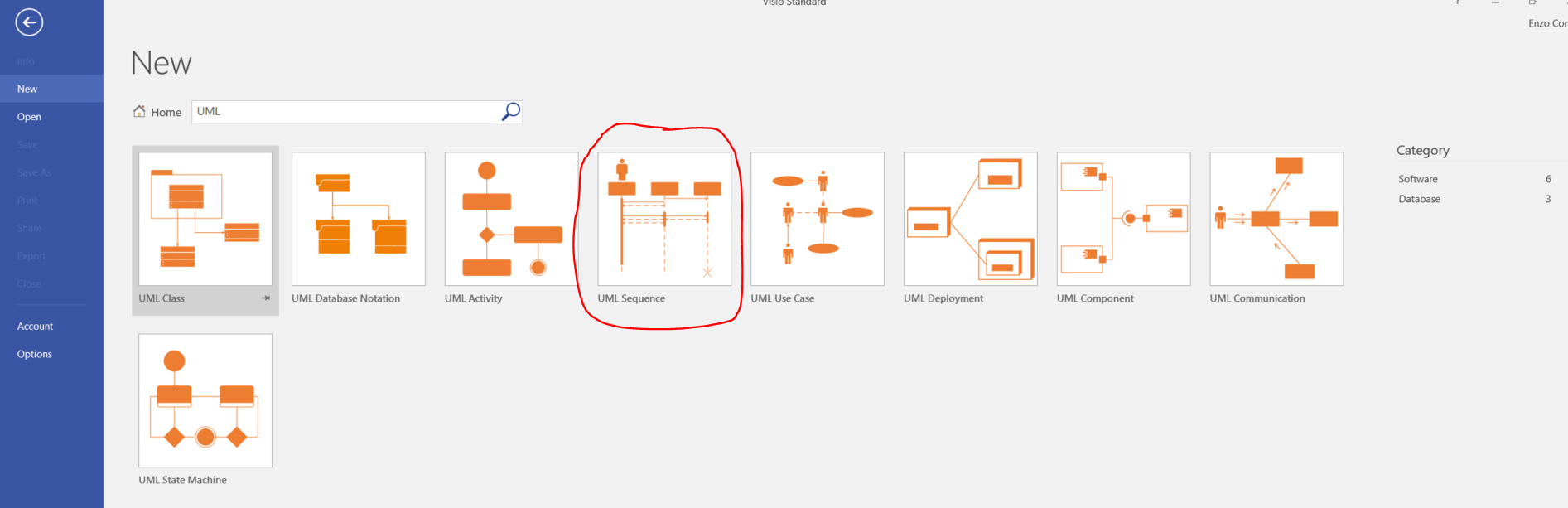 searching for uml diagram templates in visio 2016 standard