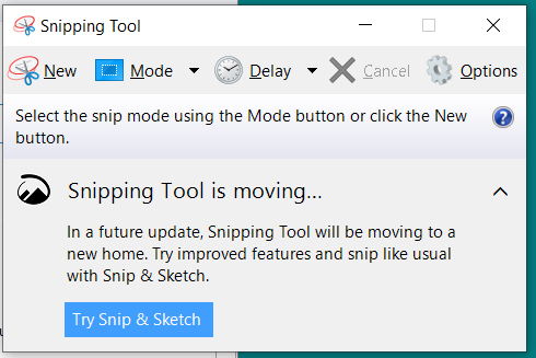 Windows 10 Snipping Tool replaced by the better Snip & Sketch app