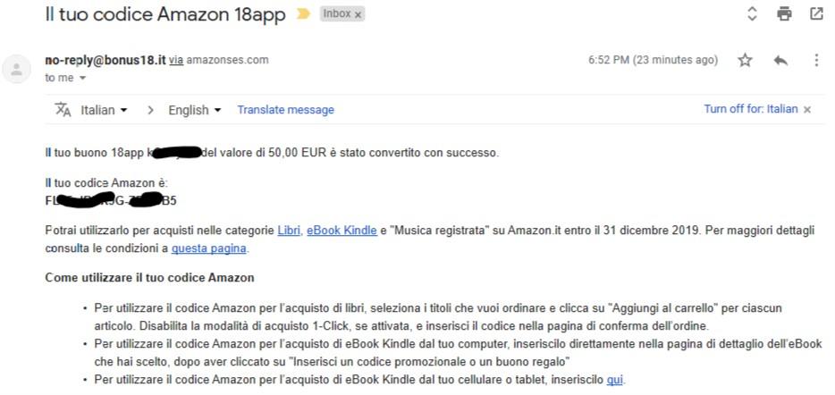 53938132cc Email con indicato il codice Amazon generato dalla conversione di un Buono  Cultura